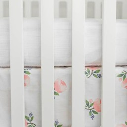 Little Unicorn Little Unicorn - Jupe de Lit en Percale de Coton/Cotton Percale Crib Skirt, Aquarelle Rose/Watercolor Rose