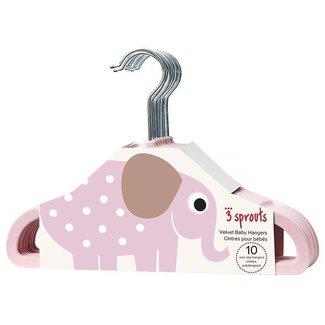 3 sprouts 3 Sprouts - Cintres pour Enfant/Kids Hanger, Éléphant Rose/Pink Elephant