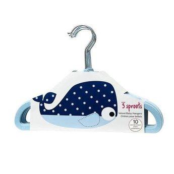 3 sprouts 3 Sprouts - Cintres pour Enfant/Kids Hanger, Baleine Bleu/Blue Whale