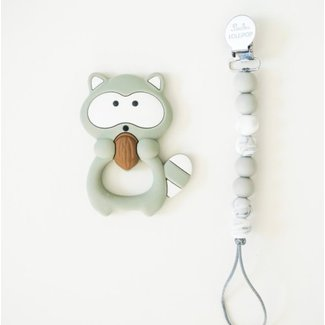 Loulou Lollipop Loulou Lollipop - Jouet de Dentition/Teething Toy, Raton/Raccoon, Gris/Gray