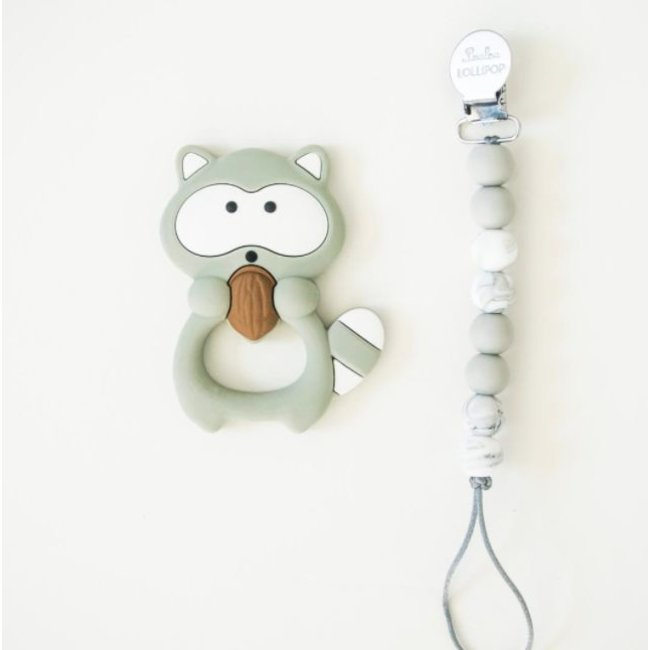 Loulou Lollipop Loulou Lollipop - Teething Toy With Holder, Raccoon, Gray