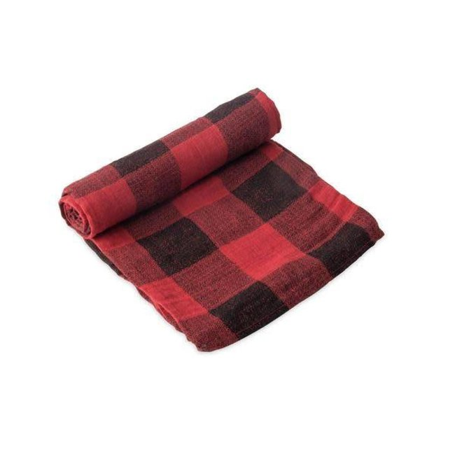 Little Unicorn Little Unicorn - Single Cotton Muslin Blanket by Little Unicorn, Red Plaid