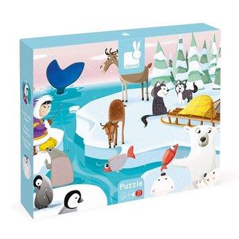 Janod Puzzle Tactile Géant de Janod/Janod Giant Tactile Puzzle, La Vie sur la Glace/Life on Ice