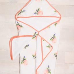 Little Unicorn Little Unicorn - Sortie de Bain et Gant de Toilette/Cotton Hooded Towel and Wash Cloth, Aquarelle Rose/Watercolor Rose