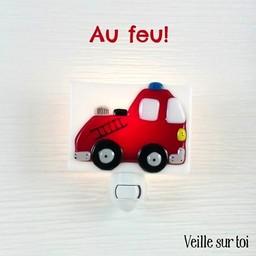 Veille Sur Toi Veilleuse en Verre Camion de Pompier par Veille sur Toi, Veille sur Toi Glass Nightlight Fire Truck
