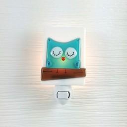 Veille Sur Toi Veille sur Toi - Veilleuse en verre Hibou Turquoise / Glass Nightlight Aqua Owl