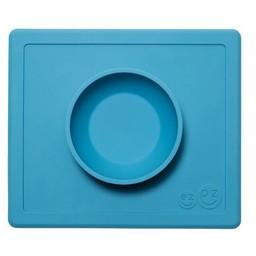 Ezpz EzPz - Napperon et Bol Tout-en-un Happy Bowl/Happy Bowl All-in-one Placemat and Bowl, Bleu/Blue