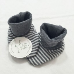 Bouton Jaune Bouton Jaune - Chaussons en Coton Organique/Organic Cotton Booties, Gris et Crème/Grey and Cream, 0-3 Mois/Months