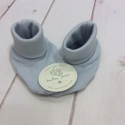 Bouton Jaune Bouton Jaune - Chaussons en Coton Organique/Organic Cotton Booties, Bleu/Blue, 0-3 Mois/Months