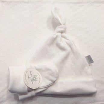 Bouton Jaune Ensemble Chapeau et Mitaines en Coton Organique de Bouton Jaune/Bouton Jaune Organic Cotton Hat and Mitt, Crème/Cream