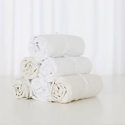 Bouton Jaune Bouton Jaune - Drap Contour en Coton/Cotton Fitted Sheet, Crème/Cream