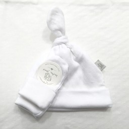 Bouton Jaune Bouton Jaune - Ensemble Chapeau et Mitaines en Coton Organique/Organic Cotton Hat and Mitt, Blanc/White