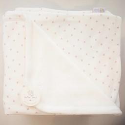 "Bouton Jaune Bouton Jaune -  Couverture en Ratine de Velours 42po x 42po/42"" x 42"" Velvet Ratine Blanket, Blanc Étoiles Rose/White Pink Stars"