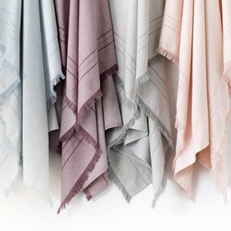 Bouton Jaune Bouton Jaune - Couverture en Lainage Tissé/Woven Wool Blanket, Bleu/Blue