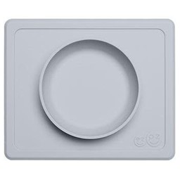 Ezpz EzPz - Napperon et Bol Tout-en-un Mini Bowl/Mini Bowl All-in-one Placemat and Bowl, Gris Étain/Pewter
