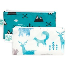 Bumkins Bumkins - Paquet de 2 Sacs à Collation Réutilisables/Reusable Snack Bag 2 Pk, Nature/Outdoor
