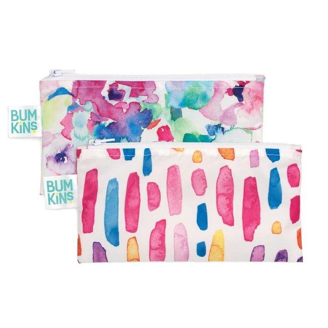 Bumkins Bumkins - Paquet de 2 Sacs à Collation Réutilisables, Aquarelle Fleur