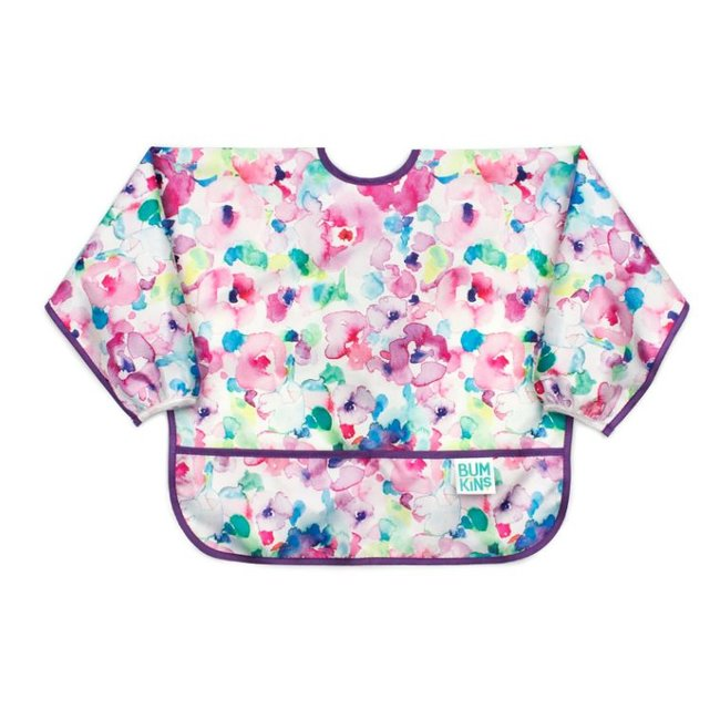 Bumkins Bumkins - Bavoir Manches Longues/Sleeved Bib , Aquarelle Fleur/Watercolour Flower