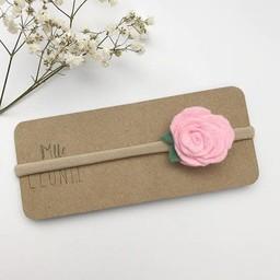 Mlle Léonie Mlle Léonie - Bandeau Individuel avec Fleur /Individual Headband with Flower, Rose Sucré/Sugar Pink