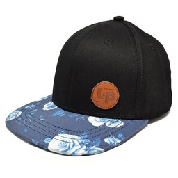L&P L&P - Casquette Victoria/Victoria Cap, Noir Fleuri Bleue/Black and Blue Flower