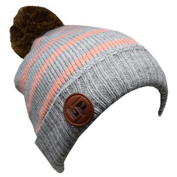 L&P L&P, Aspen V2 - Tuque en Tricot/Knitted Hat, Gris Pâle et Rayé Rose/Light Grey and Pink Stripes