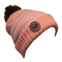 L&P L&P, Aspen V2 - Tuque en Tricot/Knitted Hat, Rose Pâle et Rayé Gris/Light Pink and Grey Stripes