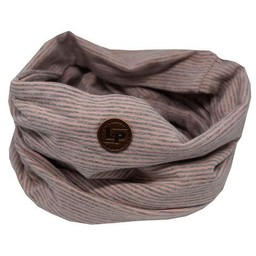 L&P L&P - Foulard en Coton Infinity/Infinity Cotton Scarf, Lignées Vieux Rose et Gris/Dusty Grey and Pink Stripes