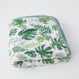 Little Unicorn Little Unicorn - Couette en Mousseline de Coton/Cotton Muslin Quilt, Tropical Leaf