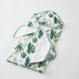 Little Unicorn Little Unicorn - Sortie de Bain et Gant de Toilette/Cotton Hooded Towel and Wash Cloth, Tropical Leaf