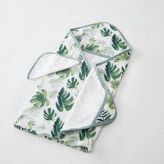 Little Unicorn Little Unicorn - Sortie de Bain et Gant de Toilette / Cotton Hooded Towel and Wash Cloth, Tropical Leaf