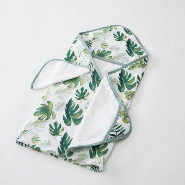 Little Unicorn Little Unicorn - Cotton Hooded Towel and Wash Cloth, Tropical Leaf