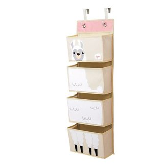 3 sprouts 3 Sprouts - Organisateur Mural/Hanging Wall Organizer, Lama Blanc/White Llama