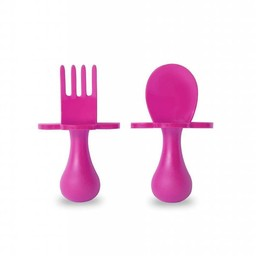 Grabease Grabease - Ensemble de Cuillère et Fourchette/Fork and Spoon Ustensil Set, Rose/Pink