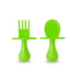 Grabease Grabease - Ensemble de Cuillère et Fourchette/Fork and Spoon Ustensil Set, Vert/Green
