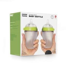 Como Tomo Como Tomo - Paquet de 2 Bouteilles Touché d'Allaitement 150ml/2 Packs Breatfeeding Baby Bottle 150ml, Vert/Green