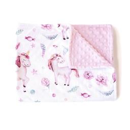 Olé Hop Olé Hop - Couverture en Peluche/Minky Blanket, Licornes/Unicorns