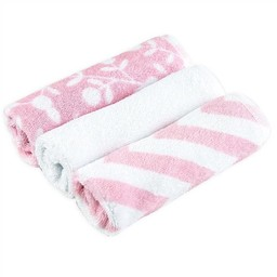 Kushies Ensemble de 3 Débarbouillettes de Kushies Baby/Kushies Baby 3 Pack of Wash Cloths, Fille/Girl