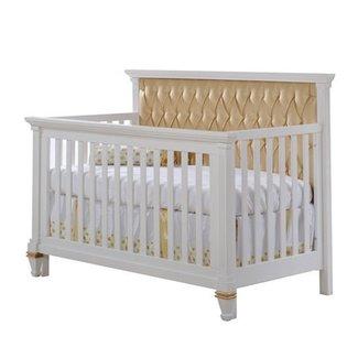 Natart Juvenile Natart Belmont - Lit de Bébé Convertible 5-en-1 avec Panneau Rembourré/5-in-1 Convertible Crib with Tufted Panel, Platine/Platinum