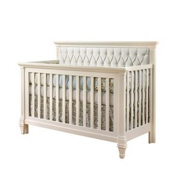 Natart Juvenile Natart Belmont - Lit de Bébé Convertible 5-en-1 avec Panneau Rembourré/5-in-1 Convertible Crib with Tufted Panel, Blanc/White