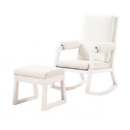 Natart Juvenile Natart Senza - Chaise Berçante avec Tabouret/Rocker and Ottoman, Blanc/White