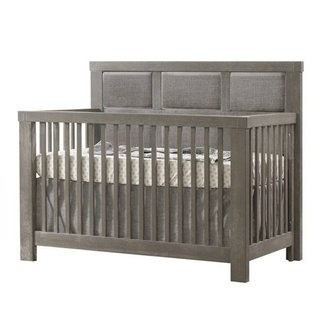 Natart Juvenile Natart Rustico - 5-in-1 Convertible Crib With Upholstered Pannel, Fog Linen Weave