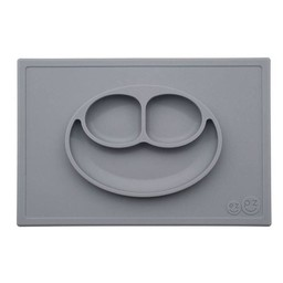 Ezpz EzPz - Napperon et Assiette Tout-en-un Happy Mat/Happy Mat All-in-one Placemat and Plate, Gris/Grey
