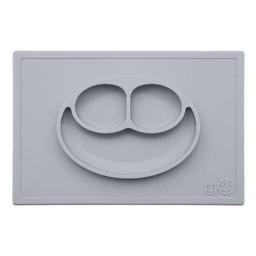 Ezpz EzPz - Napperon et Assiette Tout-en-un Happy Mat/Happy Mat All-in-one Placemat and Plate, Étain/Pewter