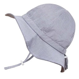 Twinklebelle Twinklebelle - Chapeau Soleil Ajustable en Coton/Grow With Me Cotton Sun Hat, Petits Losanges Gris/Tiny Argyle