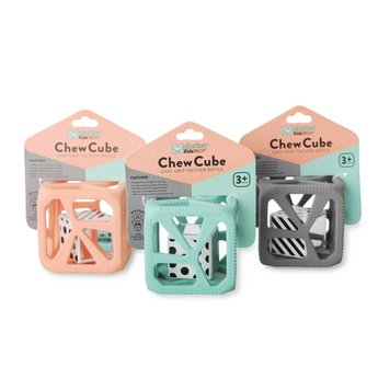 Munch Mitt Chew Cube - Cube de Dentition/Theething Cube, Rose pêche/Peachy Pink
