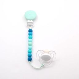 Bulle Bijouterie Bulle Bijouterie - Attache-Suce Mini en Billes/Mini Silicone Beads Pacifier Clip, Menthe, Bleu Pâle et Turquoise/Mint, Light Blue and Turquoise