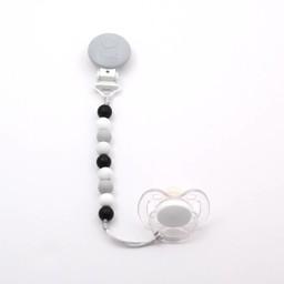 Bulle Bijouterie Bulle Bijouterie - Attache-Suce Mini en Billes/Mini Silicone Beads Pacifier Clip, Noir, Tacheté, Gris Pâle et Blanc/Black, Spotted, Light Grey and White