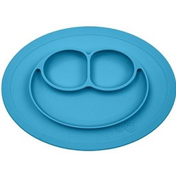 Ezpz EzPz - Napperon et Assiette Tout-en-un Mini Mat/Mini Mat All-in-one Placemat and Plate, Bleu/Blue