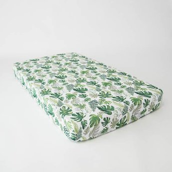Little Unicorn Little Unicorn - Drap Contour en Mousseline de Coton/Cotton Muslin Crib Sheet, Tropical Leaf
