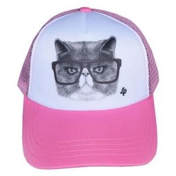 L&P L&P - Casquette Chat Choqué/Angry Cat Cap, Rose/Pink
